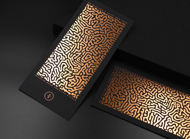Carte de voeux luxe dorure à chaud cuivre sur papier noir mat dorure à chaud cuivre DORURE À CHAUD CUIVRE sur papier noir dorure a chaud cuivre sur papier de creation noir mat