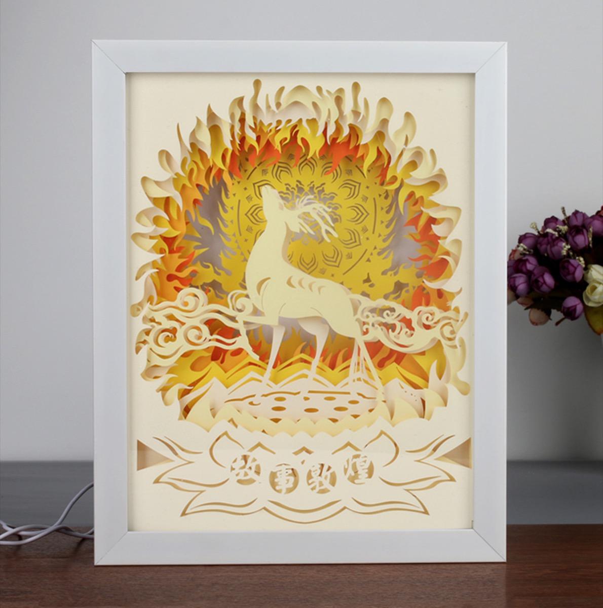 Découpe laser papier carton Paris – pop-up + Cadre lumineux décoration